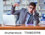 businessman sweating... | Shutterstock . vector #754803598