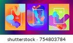fluid color background. liquid... | Shutterstock .eps vector #754803784