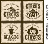 circus show four colored... | Shutterstock .eps vector #754809496