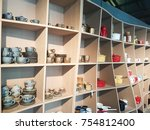shelves in the shop that... | Shutterstock . vector #754812400