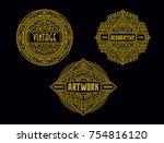 vintage circular badge... | Shutterstock .eps vector #754816120