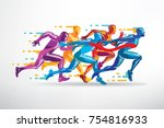 running people set of stylized... | Shutterstock .eps vector #754816933