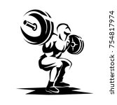athlete with barbell silhouette ... | Shutterstock .eps vector #754817974