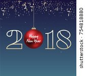 2018   happy new year lettering ... | Shutterstock .eps vector #754818880