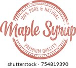 pure maple syrup stamp label | Shutterstock .eps vector #754819390
