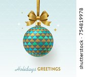 christmas greeting card  ... | Shutterstock .eps vector #754819978