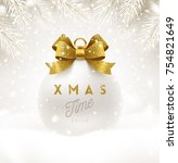 christmas white bauble with... | Shutterstock .eps vector #754821649