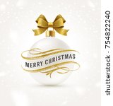 christmas greeting with glitter ... | Shutterstock .eps vector #754822240