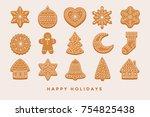 big set christmas gingerbread ... | Shutterstock .eps vector #754825438