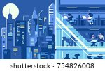 working in night office. work...   Shutterstock .eps vector #754826008