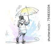 vector sketch of little girl... | Shutterstock .eps vector #754833334