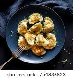 dumplings stuffed with meat... | Shutterstock . vector #754836823