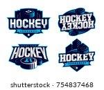 modern professional hockey logo ... | Shutterstock .eps vector #754837468