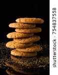 oatmeal cookies with crumbs ...   Shutterstock . vector #754837558