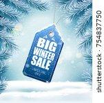 big christmas sale on winter... | Shutterstock .eps vector #754837750