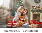 merry christmas and happy... | Shutterstock . vector #754838800
