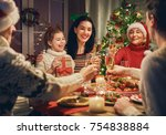 merry christmas  happy family... | Shutterstock . vector #754838884
