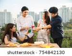 friends having party on the... | Shutterstock . vector #754842130