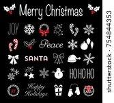 christmas chalkboard icons...   Shutterstock .eps vector #754844353
