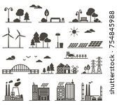 vector silhouettes of eco city...   Shutterstock .eps vector #754845988