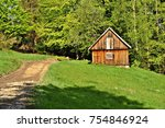 traditional houses in beskidy... | Shutterstock . vector #754846924