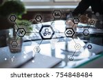 iot  automation  industry 4.0.... | Shutterstock . vector #754848484