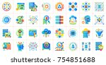 flat icon set of data science... | Shutterstock .eps vector #754851688