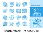 linear icon set of data science ... | Shutterstock .eps vector #754851940