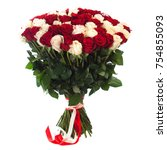Stock photo a bouquet of many two color fresh roses isolated on white background 754855093