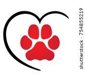 illustration icons  dog paw...   Shutterstock .eps vector #754855219