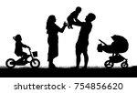 happy family with children...   Shutterstock .eps vector #754856620