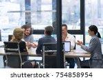 business partner shake hands on ... | Shutterstock . vector #754858954