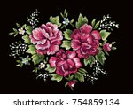 vintage floral embroidery... | Shutterstock .eps vector #754859134