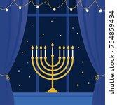 hanukkah menorah and room ...   Shutterstock .eps vector #754859434