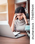 stressed young businesswoman... | Shutterstock . vector #754859644