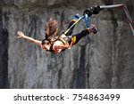 bungee jumps  extreme and fun... | Shutterstock . vector #754863499
