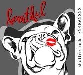 french bulldog. vector... | Shutterstock .eps vector #754865353