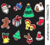 set of christmas stickers vector   Shutterstock .eps vector #754866178