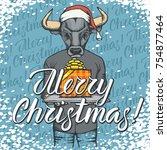 vector illustration of bull on... | Shutterstock .eps vector #754877464