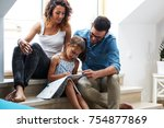 father and mother teach... | Shutterstock . vector #754877869