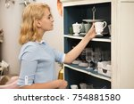 young attractive woman shopping ... | Shutterstock . vector #754881580