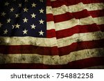 closeup of grunge american flag | Shutterstock . vector #754882258