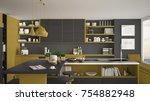 modern wooden kitchen with... | Shutterstock . vector #754882948