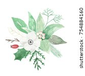 watercolor christmas bouquet... | Shutterstock . vector #754884160