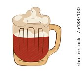 beer mug with foam isolated on... | Shutterstock .eps vector #754887100