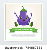 cute humanized aubergine...   Shutterstock .eps vector #754887856