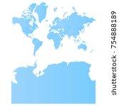 worldkashmir2withantarctica map ... | Shutterstock .eps vector #754888189