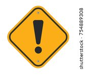 danger sign with exclamation... | Shutterstock .eps vector #754889308