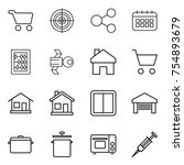 thin line icon set   cart ... | Shutterstock .eps vector #754893679