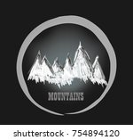 mountains painted. hand drawn... | Shutterstock . vector #754894120